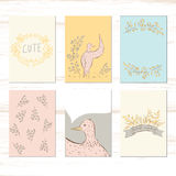 Cute small bird fall. Hund drawn  illyustration Stock Images