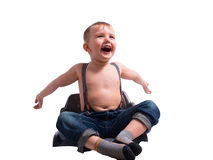 Cute small boy  on white Stock Photography