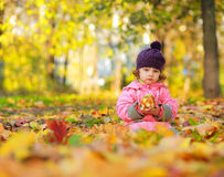 Cute small child sitting on autumn Stock Photography