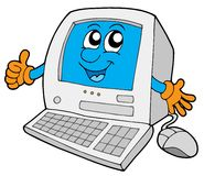 Cute small computer Stock Photo