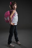 Cute small girl going to school Royalty Free Stock Photo