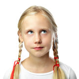 Cute small girl looking up. On white Royalty Free Stock Photography