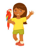 Cute small girl with macaw parrot Stock Image