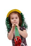 Cute small girl on new year's eve royalty free stock image