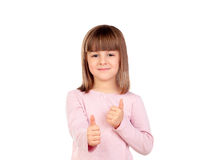 Cute small girl saying Ok Royalty Free Stock Image