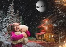 Cute small girl  with toy beart outside Stock Photography