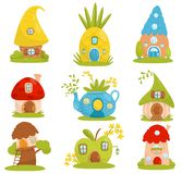 Cute small houses set, fairytale fantasy house for gnome, dwarf or elf vector Illustrations on a white background stock illustration