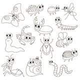Cute small insects set, the big page to be colored, simple education game for kids. Royalty Free Stock Photo