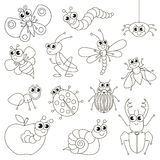 Cute small insects set, the big page to be colored, simple education game for kids. stock illustration
