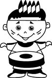 Cute small kid playing drum black and white vector illustration