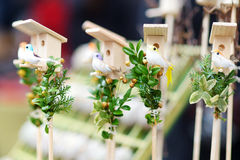 Cute small nesting boxes sold on spring market in Vilnius Stock Image