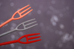 Cute small plastic forks Royalty Free Stock Photo