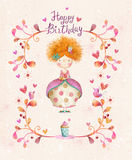 Cute small princess with cup of tea in flowers, hearts, birds. Awesome Happy birthday card in cartoon style. Cute small princess with cup of tea in flowers Royalty Free Stock Image