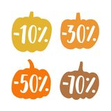 Cute small pumpkins sale badges royalty free illustration