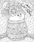 Adult coloring book,page a cute snowman on the abstract background with lettering for relaxing.Zen art style illustration. A cute small snowman wearing a hat on vector illustration