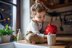 Free Cute Small Toddler Girl Sitting On Kitchen Counter Indoors At Home, Pouring Tea. Royalty Free Stock Image - 177382216