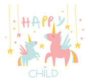 Cute Small Unicorn with Mom. Vector Illustration Stock Images