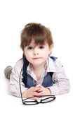 Cute smart baby kid with glasses Stock Image