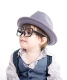 Cute smart baby kid with hat stock photos