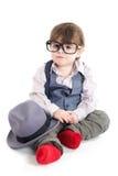Cute smart baby kid sitting Royalty Free Stock Image