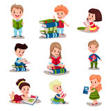 Cute smart kids reading books set of Illustrations vector illustration