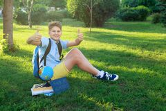Cute, smart, young boy in blue shirt sits on the grass with globe, workbooks, chalkboard and holds his thumbs up in the park. In the summer. Back to school stock image