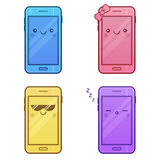 Cute Smartphone Characters. Set of Kawaii cheerful mobiles. Happy cartoon phones with funny faces. Online apps. Modern digital vector illustration. Colorful Stock Image