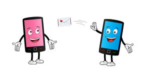 Cute Smartphone couple texting Royalty Free Stock Photography