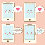 Cute smartphone icons, design elements. Kawaii smiling mobile phone character with speech bubbles and messages, notifications, sms Stock Photography