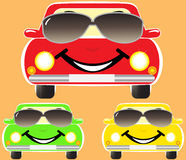 Cute smile cars in sunglasses Royalty Free Stock Image