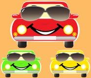 Cute smile cars in sunglasses. Set colorful cute smile cars in sunglasses Royalty Free Stock Image