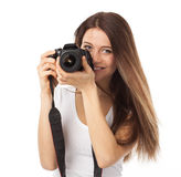 Cute smile and digital camera Royalty Free Stock Image