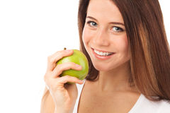 Cute smile and green apple Stock Photo