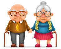 Cute Smile Happy Elderly Couple Old Man Love Woman Grandfather Grandmother 3d Realistic Cartoon Family Character Design. Cute Smile Happy Elderly Couple Old Man vector illustration