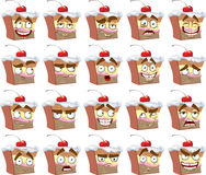 Cute smiles delicious cake with different emotions Royalty Free Stock Photography