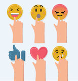 Cute smiley emoticons, emoji. Stock Images