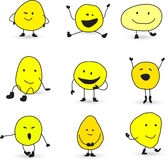 Cute smiley face characters. Hand drawn smiley face characters in different poses Stock Photography