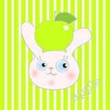 Cute smiley rabbit with green apple Stock Photography