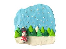 Cute smiley snowman plasticine clay, beautiful festival dough stock photo