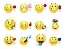 Cute smiley sweet tooth. Cute emoticons with different sweet snacks in hand and not only Royalty Free Stock Photo
