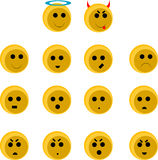Cute smileys set. Isolated illustration Stock Image