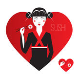 Cute Smiling Asian Girl Character on black kimono holding sushi with chopstiks. Logo in heart shape. Love japanise cousine. Royalty Free Stock Photography