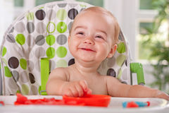 Cute smiling baby child enjoy eating watermelon Stock Photo