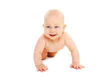 Cute smiling baby crawls on white background Royalty Free Stock Image
