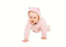 Cute smiling baby crawls on white background Royalty Free Stock Photos