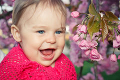 Cute smiling baby girl. Portrait of smiling baby girl Stock Photos