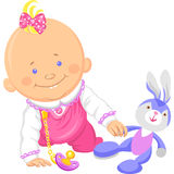 Vector cute baby girl playing with a toy rabbit Stock Photos