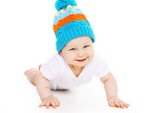 Cute smiling baby in knitted hat Royalty Free Stock Photography