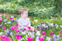 Cute smiling baby playing with first spring flowers Royalty Free Stock Photos
