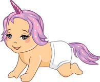 Cute smiling baby with a unicorn accessories Royalty Free Stock Photos